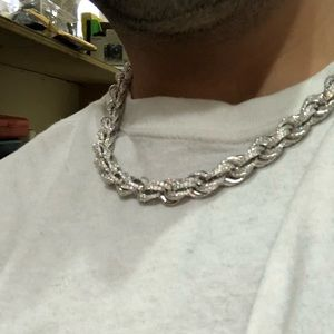 Men's 14k white gold rope sterling silver choker